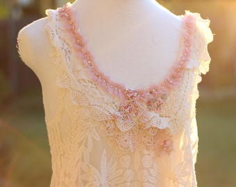 cream pink lace top blouse, boho beaded vintage lace blouse, romantic embroidered summer tank top, cream festival tunic