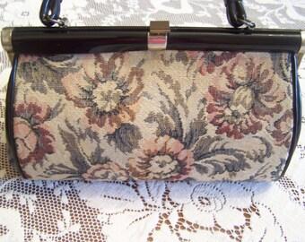 Vintage Dover, Mid Century Tapestry Handbag, Purse, Structered Bag, Top Handle Bag, Carpet Bag, Metal Framed Purse