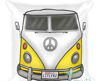 VW Camper Pillow - Yellow Volkswagen Throw Pillow - VW Home Decor - Car Lover Gift - VW Accent Couch Pillow - Valentines Gift Idea for Him