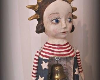 Folk Art Patriotic Lady Liberty - Americana patriotic paper mache doll Primitive OOAK