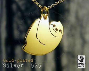 Hanging Sloth Handmade Goldplated Sterling Silver .925 Necklace in a gift box