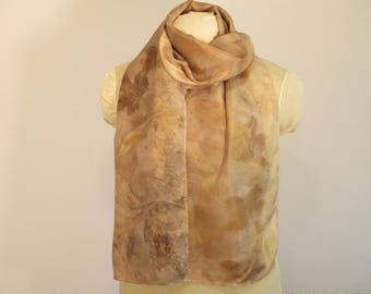 "Natural Dye Scarf - Silk Plant-Dyed with Peony Willow Maple - HA14111733-  approx. 14""x70"" (35 x 177cm)"