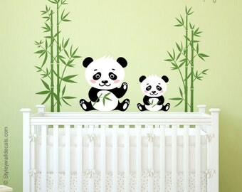 Panda Wall Decal, Bamboo Wall Decal, Panda Bear Wall Sticker, Animals Wall Sticker, Panda Nursery Decor, Kids Baby Nursery Decor Decal