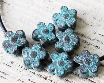 13mm Mykonos Green Patina Daisy Beads - Jewelry Making Supply - Large Hole - Verde Gris Beads - Made In Greece - Choose Amount