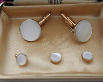 Swank Mother of Pearl Tuxedo Studs and Cufflinks from Saper's Store for Men South Shore Chicago Groom Tux