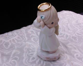 Precious Moments Angel Figurine, March Birthday, Aquamarine Birthstone, Rhinestone, Collectible Figurine