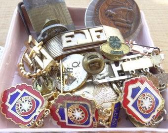 Junk Drawer Vintage Destash, Military Man Men Scouts Enamel Cuff Links Pins Vintage Jewelry Destash 4H 1990s Red Cross Antique D173