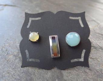 Vintage Sterling Studs - Sterling - Mis matched Earrings - Single - Post Earrings - Rainbow Drop - Sky Blue - Yellow - Trio Studs