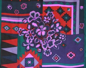 Op Art silk scarf by Beckford Silk. Floral silk scarf, tribal silk scarf, hand printed scarf, oversized, large scarf, purple, red, green