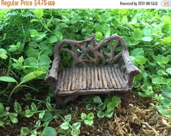 SALE Mini Twig Bench, Fairy Garden Accessory, Garden Decor, Park Bench, Wood Look Bench, Miniature Garden Decor, Shelf Sitter, Topper