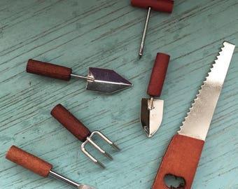 SALE Miniature Garden Tools Wood Handles 6 Piece Set, Home and Garden Decor, Miniature Gardening, Fairy Garden Accessories