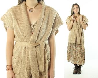 Vintage 70s Cardigan Sweater Belted Wrap Short Sleeve Tan Knit 1970s Large L Hippie Boho Perchant Grandpa