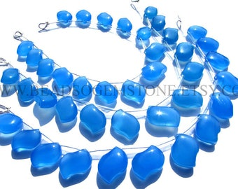 AAA Supper Quality Natural Blue Chalcedony Beads In S-Shape Smooth Shape, (9x13 to 11.5x15.5), CHALCE-014, Semiprecious Gemstone Beads