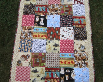 """Quilted Fleece Blanket """"It's a Dog's Life"""" Soft Lap Quilt, Colorful Dogs, Black and White Doggy Paws, Patchwork Quilt, Quiltsy Handmade"""
