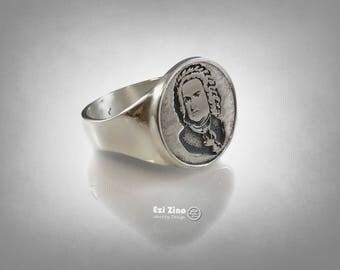 Johann Sebastian Bach Portrait  Ring Solid Sterling Silver 925 By Ezi Zino