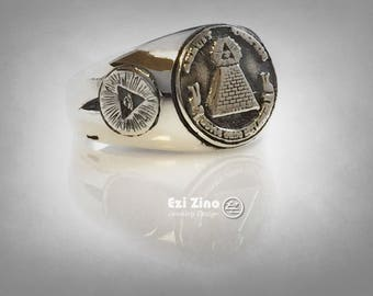 new sterling silver 925 MASONIC ANNUIT COEPTIS ring