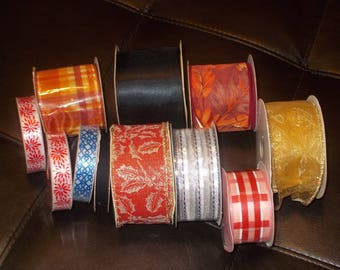 Large Lot of Craft Ribbon Wedding Holiday Floral Home Decor 11 Spools
