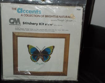 Vintage 1981 Columbia Minerva Accents Collection Butterfly Embroidery Kit 7289