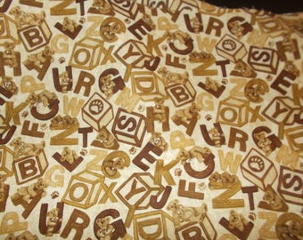 Cotton Fabric Boyds Bears Blocks and Letters