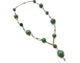 Art Deco Chrysoprase Bead Necklace - Beaded Necklace, Green Stones, Glass Beads, Lavaliere Necklace, Art Deco Jewelry
