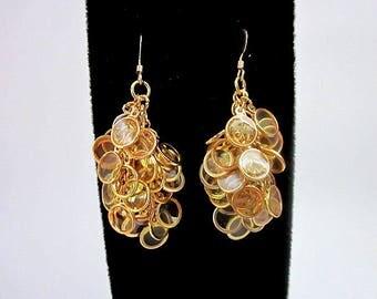 Yellow & Gold Dangle Earrings -- Unique Yellow Earrings -- Clear Yellow Earrings -- Yellow Circle Earrings -- Yellow Cluster Earrings -Epoxy