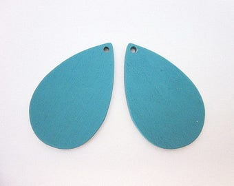 Blue Teardrop Supply -- Blue Wood Craft Supply -- Blue Teardrop Pendant Supply -- Blue Teardrop Craft Components -- Blue Wood Cutout Pieces