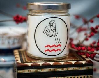 Aquarius Soy Zodiac Candle - 8 oz - Astrology Birthday Gift