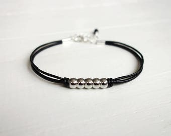 Metal bead bracelet black leather bracelet five metal beads black cord bracelet for men for women