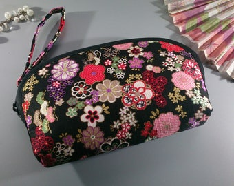Black brown pink multicolored make up pouch - Mana