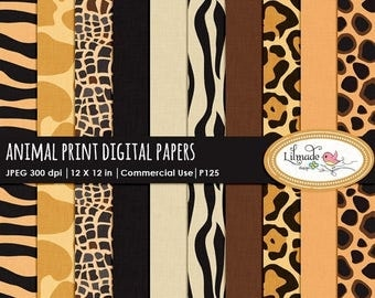 65%OFF SALE Animal print digital paper, safari digital paper, animal print scrapbook paper, animal print patterned paper,  commercial use, P