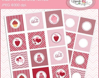 50%OFF Valentine cupcake toppers, Valentine printables, Valentine party decorations, Valentine party supplies, P114