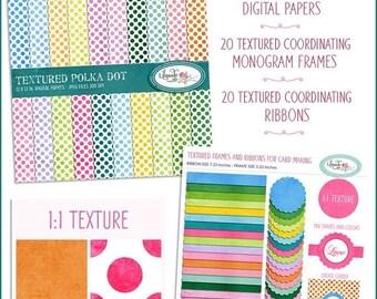 50%OFF Clipart and digital paper bundle, digital frame, digital ribbon, digital paper, textured ribbon clipart, scrapbook paper, P 160