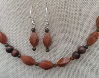 Twisted Red Jasper Red Tiger Eye Necklace Earrings Sterling