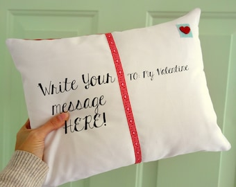 Valentines Day Postcard Pillow - Blank - YOU WRITE on it - Home Decor -  Personalized Gift - Decorative Pillow - Military Gift - Valentine