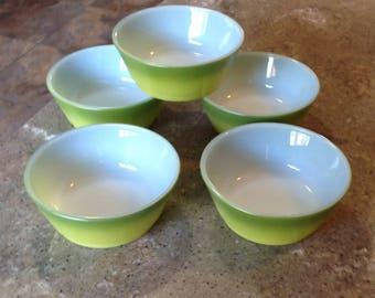 Vintage Anchor Hocking Fire King Glass Green Cereal Bowl Set of 5