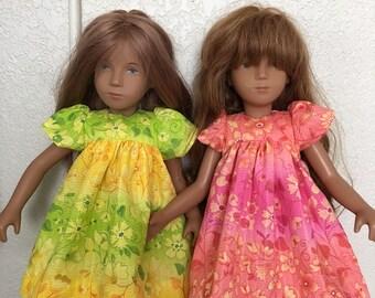 Choice of Print Yoke Dress and Pants for Sasha Doll: Shades of Lemon and Lime, or Pink and Coral