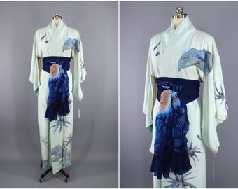 1960s Vintage Silk Kimono Robe / Wedding Dressing Gown Lingerie / Downton Abbey Art Deco / Blue PALM TREES
