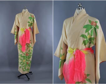 1960s Vintage Silk Kimono Robe / Wedding Dressing Gown Lingerie / Downton Abbey Art Deco / Ivory Pink Floral