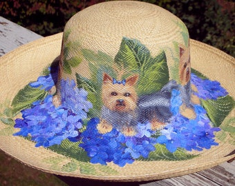 CUSTOM ~ Yorkie Hand Painted Straw Hat ~ Yorkshire Terrier ~ Pet Keepsake ~ Birthday Gift ~ Yorkie Owner Gift ~ OOAK