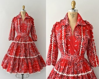 Vintage 1950s Dress Set - 50s Red Bandana Print Skirt and Blouse Set