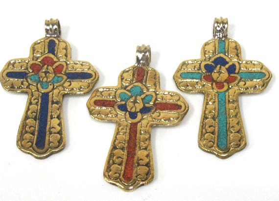 3 Pendants set  - Ethnic Large Tibetan Nepal solid Brass cross pendant with lotus floral carving turquoise coral lapis inlay - PM565D