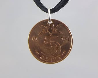 1964 Netherlands Coin Necklace, 5 Cents, Coin Pendant, Mens Necklace, Womens Necklace, Leather Cord, Vintage