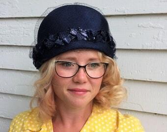 Vintage 50s Blue Hat Round Sears 1950s