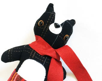 Skunk Animalpants in Red Scarf - READY TO SHIP