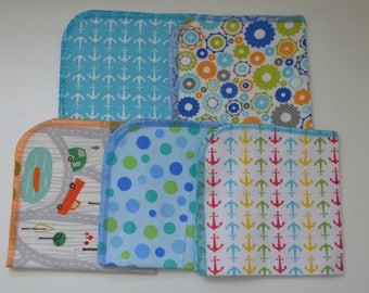 1 Ply Printed Flannel 12x12 inches Anchors away and Things-5 Pack