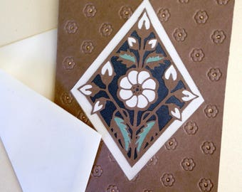 Handmade mosaic paper cut any occasion embossed greeting card