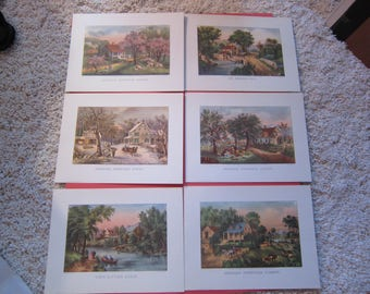 Set of 6 Currier & Ives Prints