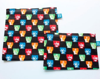 Reuseable Eco-Friendly Set of Snack and Sandwich Bags in Beatles Fabric