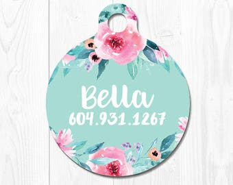Cat Tag Pet ID Custom Dog Tag Cute Dog Tags for Dogs Mint Dog Collar Tags  Puppy Tag Personalized Custom Pet Tags Floral Pet ID Tag Flowers
