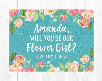 Will You Be My Flower Girl Proposal Gift Flower Girl Puzzle Proposal Will You Be Our Flower Girl Puzzle Flower Girl Proposal Blue Peach Cute